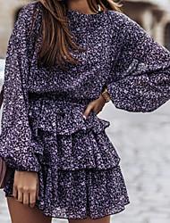 cheap -Women's A Line Dress Short Mini Dress Purple Black Long Sleeve Pattern Summer Casual 2021 S M L