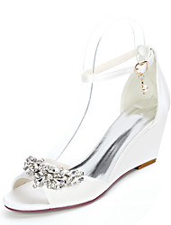 cheap -Women's Wedding Shoes Wedge Heel Open Toe Satin Rhinestone Imitation Pearl Solid Colored White Purple Red