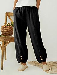 cheap -Women's Plus Size Pants Full Length Solid Color Casual / Daily Large Size L XL XXL XXXL 4XL Black khaki Gray
