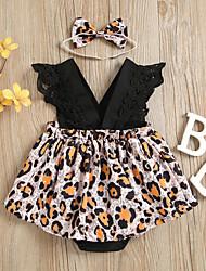 cheap -Baby Girls' Active Leopard Print Sleeveless Romper Black