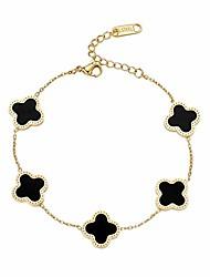 "cheap -dainty 6"" adjustable 18k gold plated designer inspired clover charm bracelet (black)"