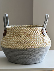 cheap -Storage Garden Basket Rattan Straw Wickerwork Basket Folding Seagrasss Flower Pot Planter