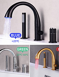 cheap -Bathroom Sink Faucet - Touchless / Rotatable / Pull out Electroplated / Painted Finishes Widespread Single Handle Three HolesBath Taps