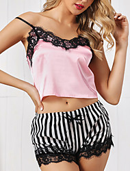 cheap -Women's Pajamas Sets Lace Striped Embroidered Spandex Summer V Neck Hook & Eye / Strap / Super Sexy / Strap