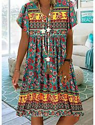 cheap -Women's T Shirt Dress Tee Dress Knee Length Dress Green Sky Blue Beige Short Sleeve Print Animal Print Spring Summer V Neck Casual / Daily Boho 2021 S M L XL XXL XXXL 4XL 5XL