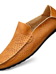 cheap -Men's Loafers & Slip-Ons Crochet Leather Shoes Flat Sandals Casual Beach Daily Outdoor Walking Shoes Nappa Leather Cowhide Breathable Handmade Non-slipping Booties / Ankle Boots Light Brown Dark