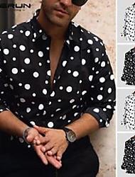 cheap -men's casual shirts 2021 autumn polka dot men shirt dress lapel neck long sleeve fashion tops chic mens brand street incerun chemise