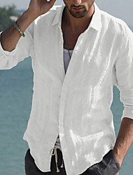 cheap -Men's Shirt Solid Color Button-Down Long Sleeve Casual Tops Cotton Lightweight Casual Fashion Breathable White
