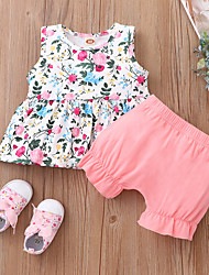 cheap -Baby Girls' Basic Floral Sleeveless Short Clothing Set Blushing Pink