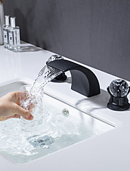 cheap -Bathroom Sink Faucet - Waterfall Electroplated / Painted Finishes Widespread Two Handles Three HolesBath Taps