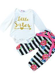 cheap -Baby Girls' Active Striped Print Long Sleeve Regular Regular Clothing Set White
