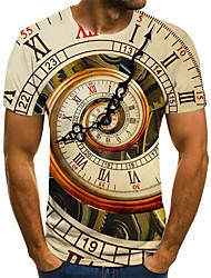 cheap -Men's Unisex Tee T shirt 3D Print Graphic Prints Clock Plus Size Print Short Sleeve Casual Tops Basic Fashion Designer Big and Tall Yellow