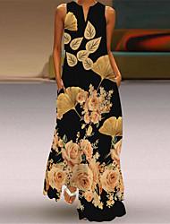 cheap -Women's A Line Dress Maxi long Dress Yellow Green White Black Apricot Sleeveless Butterfly Flower Leaves Fall Summer V Neck Vintage Style Elegant 2021 S M L XL XXL XXXL 4XL 5XL