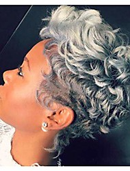 cheap -divine hair afro curly synthetic wigs for black women short gray wigs for black women african american short black brown curly wigs (gray)