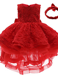 cheap -Kids Toddler Little Girls' Dress Solid Colored Lace Red Above Knee Sleeveless Streetwear Sweet Dresses All Seasons