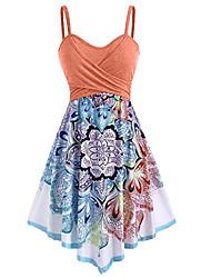 cheap -Women's A Line Dress Knee Length Dress Orange Sleeveless Flower Summer Casual 2021 S M L XL XXL / Cotton / Cotton