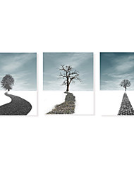 cheap -3 Panels Wall Art Canvas Prints Painting Artwork Picture Landscape Romantic Tree Path Home Decoration Décor Stretched Frame Ready to Hang