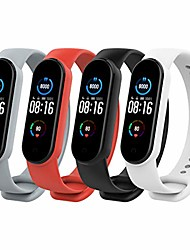 cheap -Smartwatch band bracelet compatible with xiaomi mi band 5, [4-pack] silicone breathable replacement watch strap sports bracelet strap replacement strap with clasp - multicolored