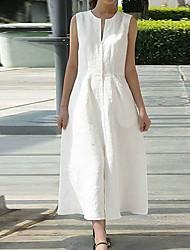 cheap -Women's A Line Dress Knee Length Dress White Black Sleeveless Solid Color Spring Summer Casual / Daily 2021 S M L XL XXL XXXL 4XL 5XL