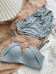 cheap -Women's Bra & Panty Set Push-up 3/4 Cup Plain Sexy Nylon Blue