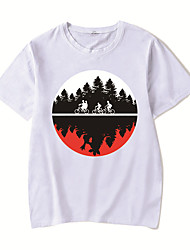 cheap -Men's Unisex Tee T shirt Hot Stamping Anime Graphic Prints Plus Size Stranger Things Print Short Sleeve Casual Tops Cotton Basic Designer Big and Tall White Black Red