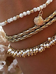 cheap -cathercing beads anklets shell bracelets for girls women thin anklet bracelets with shell pendant ankle necklace gold chain handmade daily foot hand jewelry gift for girls (3 pcs)