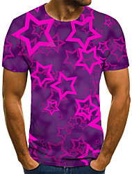 cheap -Men's Unisex Tee T shirt 3D Print Graphic Prints Star Plus Size Print Short Sleeve Casual Tops Basic Fashion Designer Big and Tall Purple