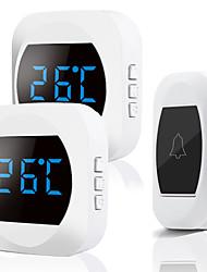 cheap -Wireless Waterproof Doorbell 300m Range US EU Plug Home Intelligent Door Bell Chime 2 Receivers Temperature Self Power