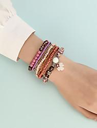 cheap -Bead Bracelet Set 7pcs Stacking Stackable Rainbow Cute Sweet Boho Acrylic Bracelet Jewelry Blushing Pink For Beach Festival
