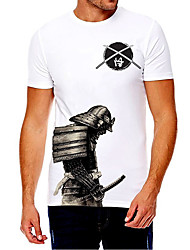 cheap -Men's Unisex Tee T shirt Shirt Hot Stamping Graphic Prints Soldier Plus Size Print Short Sleeve Casual Tops Cotton Basic Fashion Designer Big and Tall Round Neck White / Summer