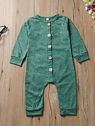 cheap -Baby Unisex Basic Solid Colored Print Long Sleeve Romper Red Green Dusty Blue