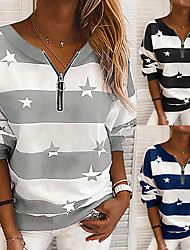 cheap -Women's Sweatshirt Pullover Half Zip V Neck Stripes Star Sport Athleisure Sweatshirt Top Long Sleeve Breathable Soft Comfortable Everyday Use Street Casual Daily Outdoor