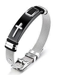 cheap -cross mesh belt bracelet titanium steel jewelry men's bracelet adjustable men's bracelet