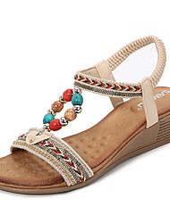 cheap -Women's Sandals Wedge Heel PU Beading Almond Black Blue