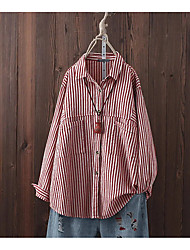 cheap -Women's Plus Size Tops Blouse Shirt Stripes Pocket Button Long Sleeve Shirt Collar Black and white stripes Red and white stripes Big Size L XL 2XL 3XL 4XL