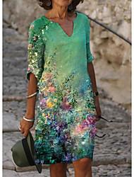 cheap -Women's A Line Dress Knee Length Dress White Black Blue Green Light Green Beige Gray Half Sleeve Floral Print Print Summer V Neck Elegant 2021 S M L XL XXL 3XL