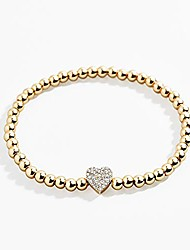 cheap -yfstyle gold beaded bracelets for women cubic zirconia stackable heart bracelet gift for her valentine's day/birthday/anniversary/back to school-heart