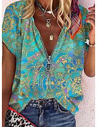 cheap -Women's Bohemian Theme Blouse Shirt Floral Zipper V Neck Tops Purple Red Yellow