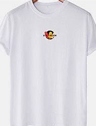 cheap -Men's Unisex Tee T shirt Hot Stamping Graphic Prints Ice Cream Letter Plus Size Short Sleeve Casual Tops 100% Cotton Basic Designer Big and Tall White Blue Yellow