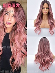 cheap -amazon new product european and american wig female mid-point gradient pink long curly hair chemical fiber wig headgear factory wholesale