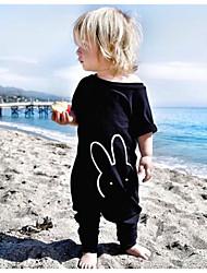 cheap -Baby Girls' Basic Print Print Short Sleeves Overall & Jumpsuit Black