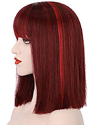 cheap -juziviee wine red wigs for women, 13'' short wine red bob wig with bangs, natural looking soft synthetic hair wig, cute wigs for party cosplay halloween ad016bu