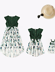 cheap -Mommy and Me Family Matching Outfits Cross Border New Parent Child Wear Long Skirt Print Long Skirt Mother  Daughter  Baby Home Family Family Wear