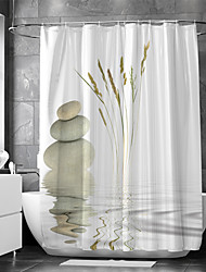cheap -Shower Curtain With Hooks Suitable For Separate Wet And Dry Zone Divide Bathroom Shower Curtain Waterproof Oil-proof Modern and Classic Theme and Landscape