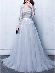cheap -A-Line Luxurious Floral Engagement Formal Evening Dress Illusion Neck Half Sleeve Chapel Train Tulle with Beading Appliques 2021
