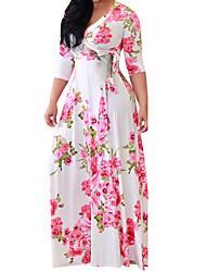 cheap -shakumy women plus size floral boho v neck long maxi dress 3/4 sleeve casual summer beach party dress shift dress with belt