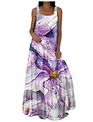 cheap -Women's Shift Dress Maxi long Dress Blue Yellow Fuchsia Sleeveless Solid Color Summer Casual / Daily 2021 S M L XL 2XL