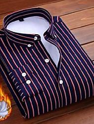 cheap -men's casual shirts aoliwen 2021 men winter shirt keep warm striped long sleeve wool lining flannel soft high quality