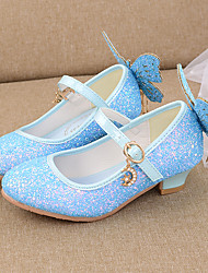 cheap -Girls' Heels Flower Girl Shoes Princess Shoes School Shoes Rubber PU Little Kids(4-7ys) Big Kids(7years +) Daily Party & Evening Walking Shoes Rhinestone Bowknot Sparkling Glitter White Blue Pink