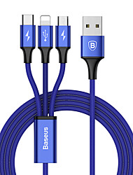 cheap -BASEUS Micro USB Lightning USB C Cable 1 to 3 3 A 1.2m(4Ft) TPE For Macbook iPad Samsung Phone Accessory
